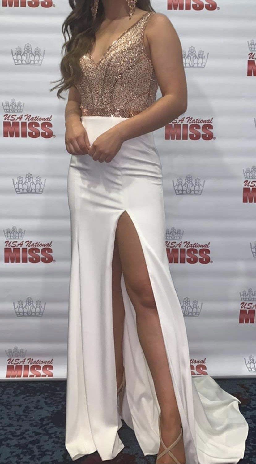 Camille La Vie  White Size 2 Pageant Jewelled Side slit Dress on Queenly
