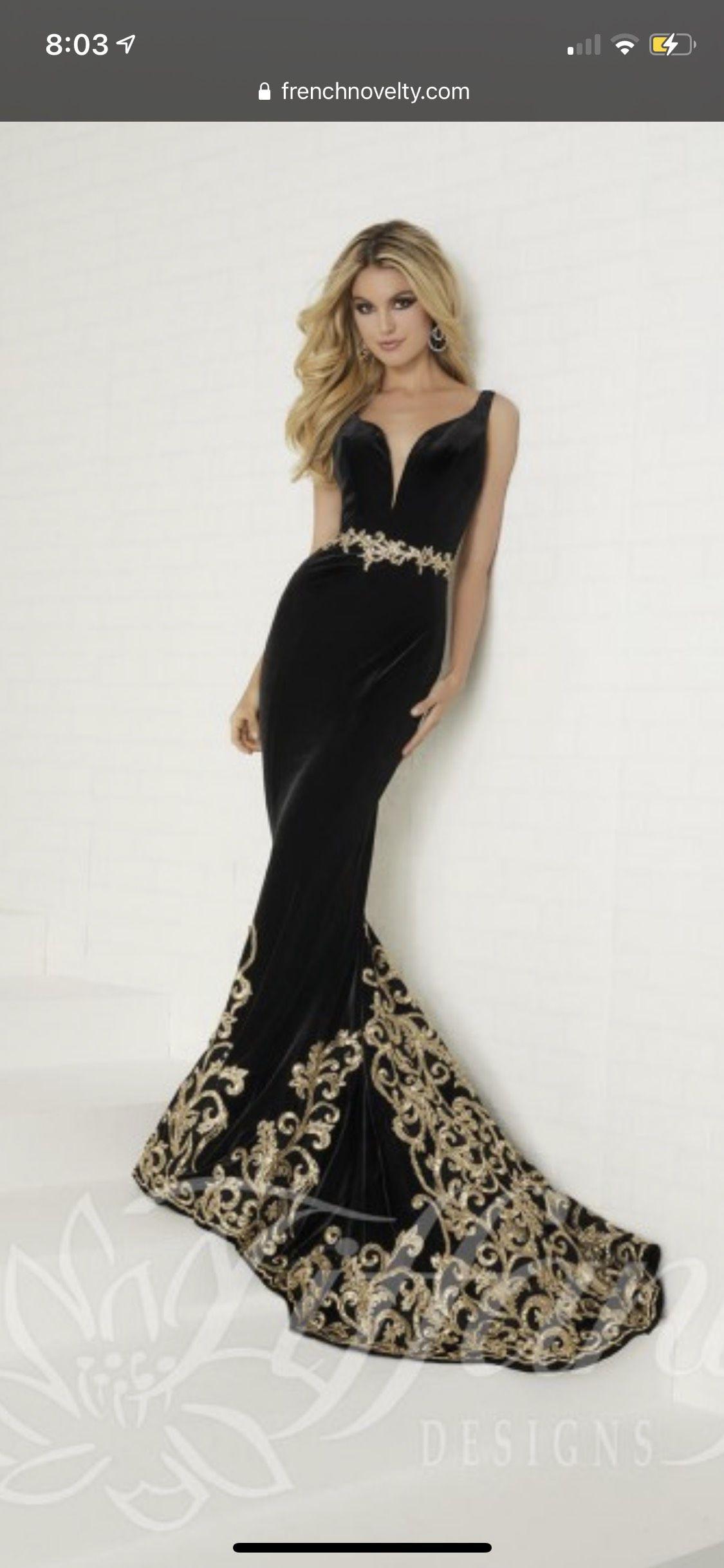 Tiffany Designs Black Size 12 Gold Train Mermaid Dress on Queenly