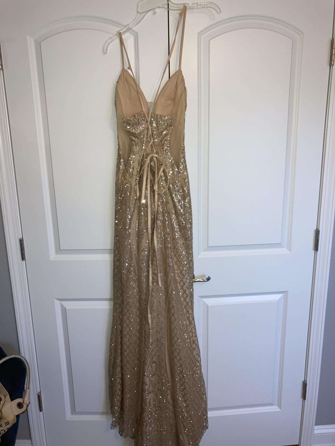 GLS Gold Size 6 Prom Pageant Corset Tall Height A-line Dress on Queenly