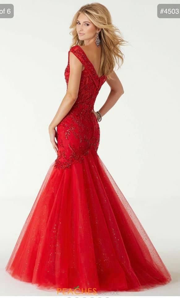 Mori Lee Red Size 00 Cap Sleeve Plunge Peach Pageant Short Height Ball gown on Queenly