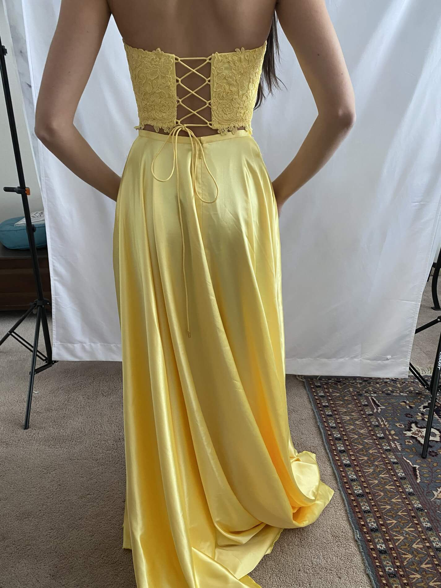 Sherri Hill Yellow Size 2 Side Slit Pageant Tall Height Lace Ball gown on Queenly