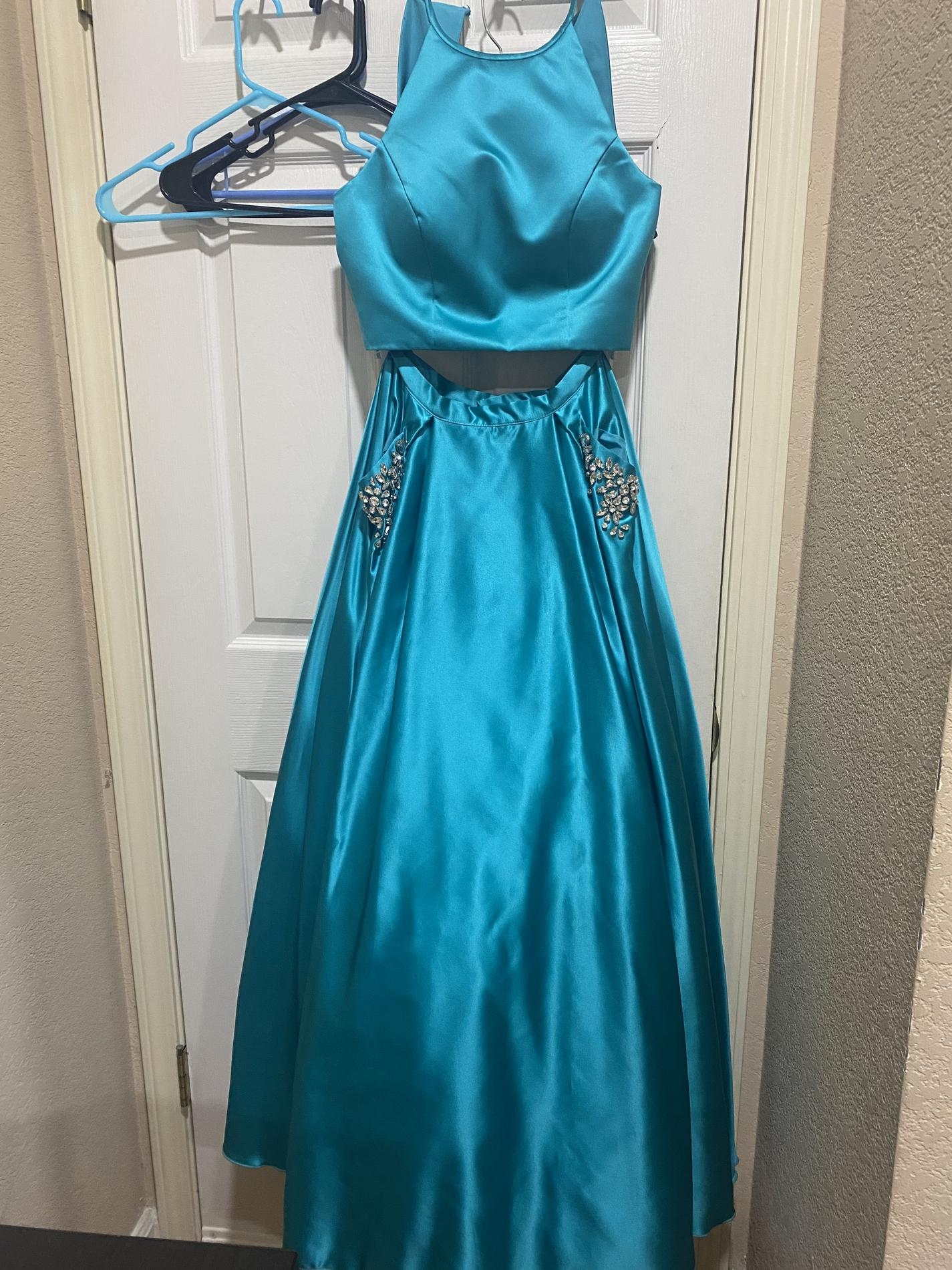 Sherri Hill Blue Size 4 Pockets Short Height Ball gown on Queenly