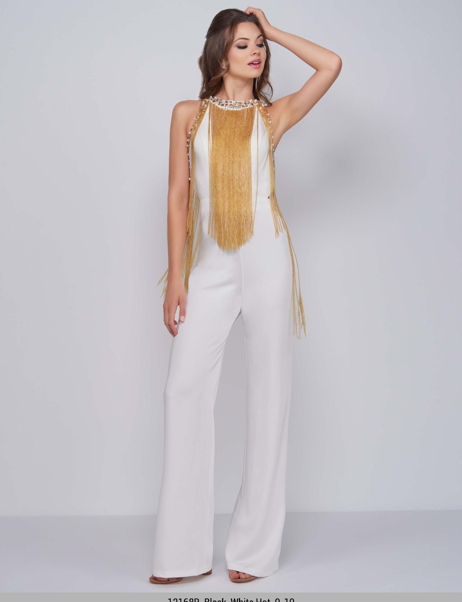 Style 12168 Mac Duggal White Size 6 Prom Pageant Fringe Jumpsuit Dress on Queenly