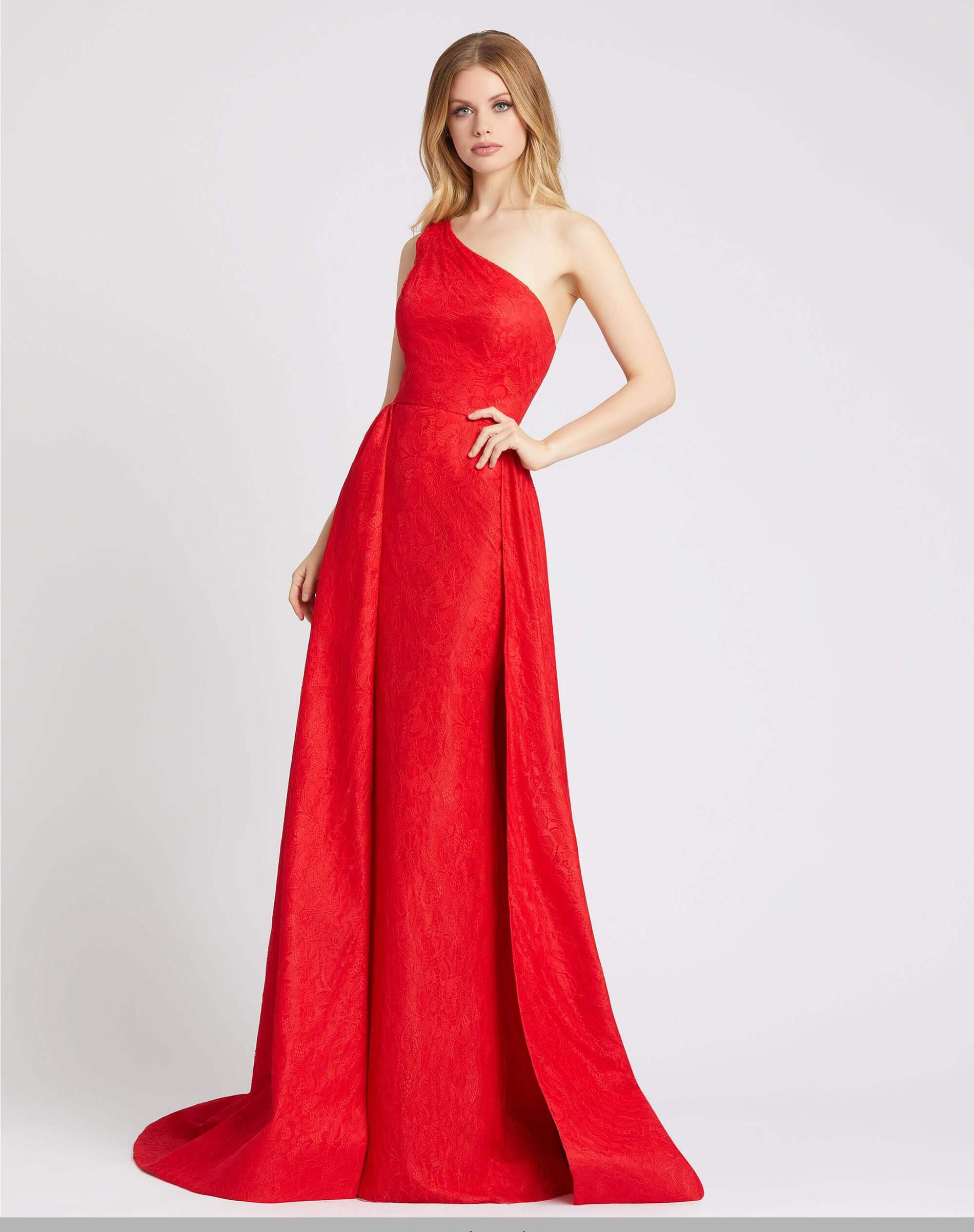 Style 12363 Mac Duggal Red Size 2 Overskirt One Shoulder Prom Ball gown on Queenly