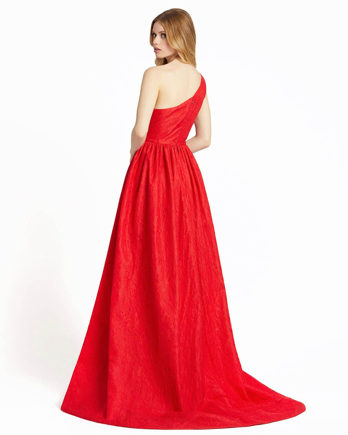 Style 12363 Mac Duggal Red Size 4 One Shoulder Prom Ball gown on Queenly