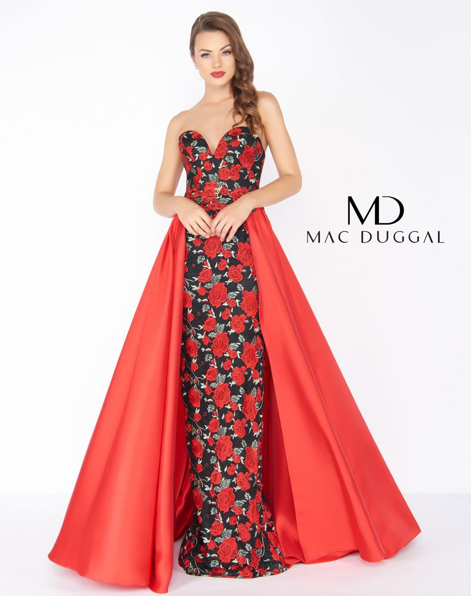 Style 2037 Mac Duggal Red Size 4 Floral Prom Sweetheart Ball gown on Queenly