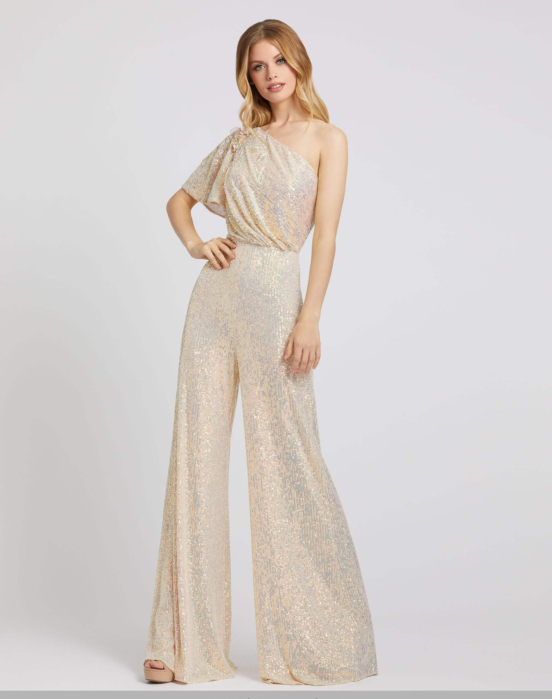 Style 30692 Mac Duggal Gold Size 4 Tall Height Wedding Guest Jumpsuit Dress on Queenly