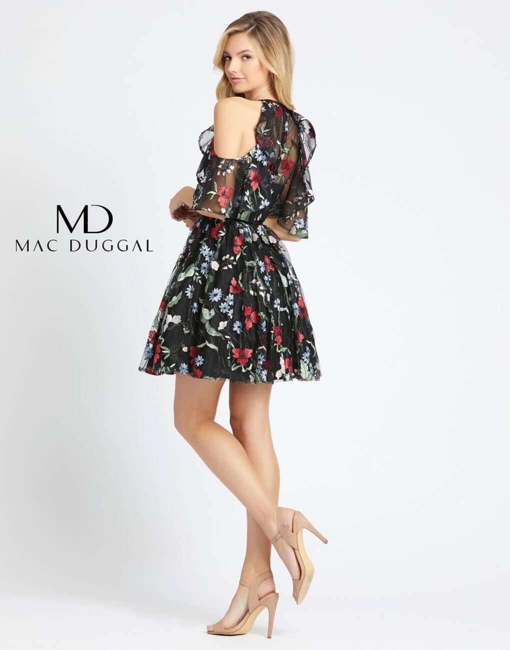 Style 40858 Mac Duggal Black Size 4 Embroidery High Neck Tall Height Floral Homecoming Cocktail Dress on Queenly