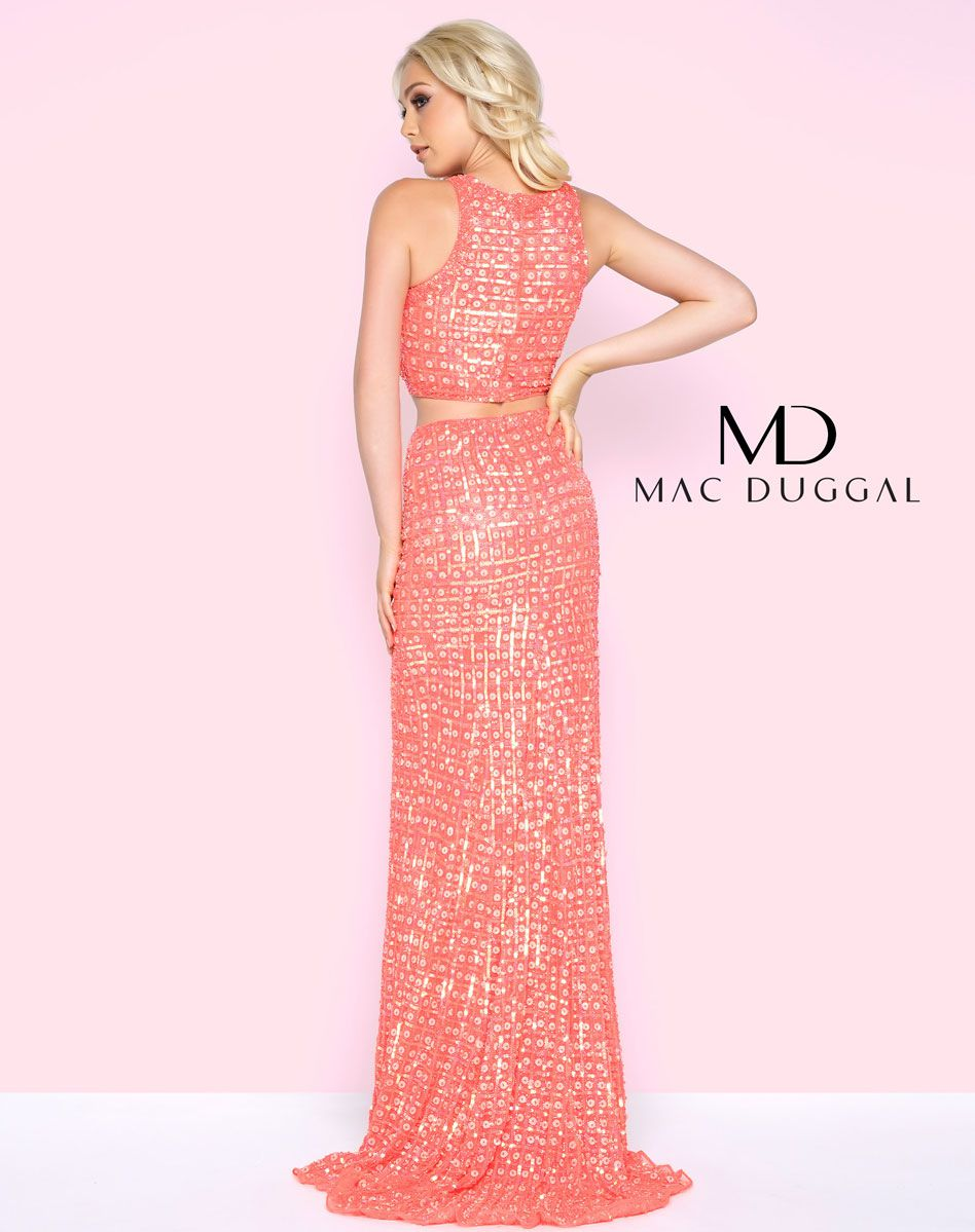 Style 4360 Mac Duggal Orange Size 6 Prom Sequin Two Piece Side slit Dress on Queenly