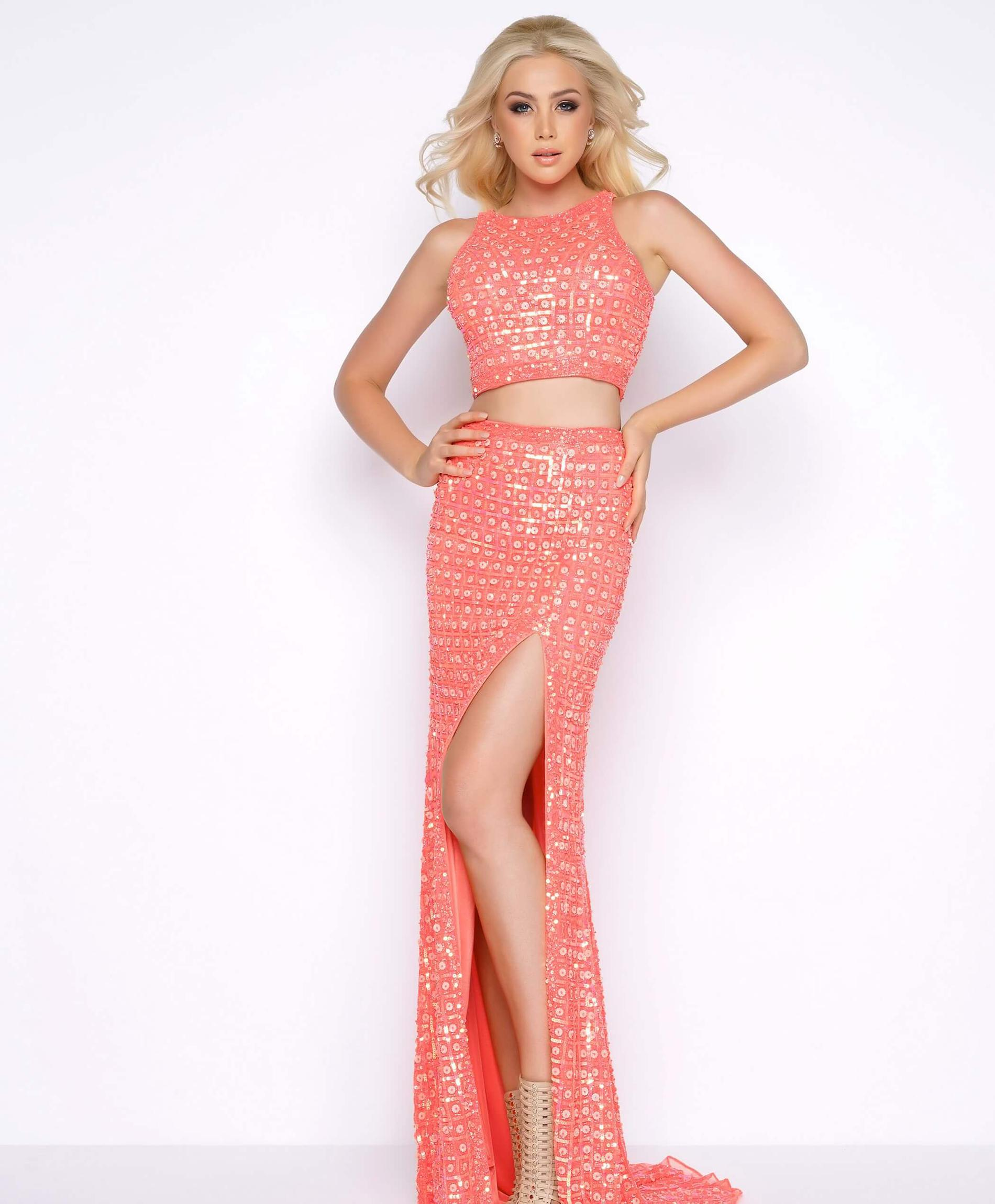 Style 4360 Mac Duggal Orange Size 10 Prom Sequin Two Piece Side slit Dress on Queenly