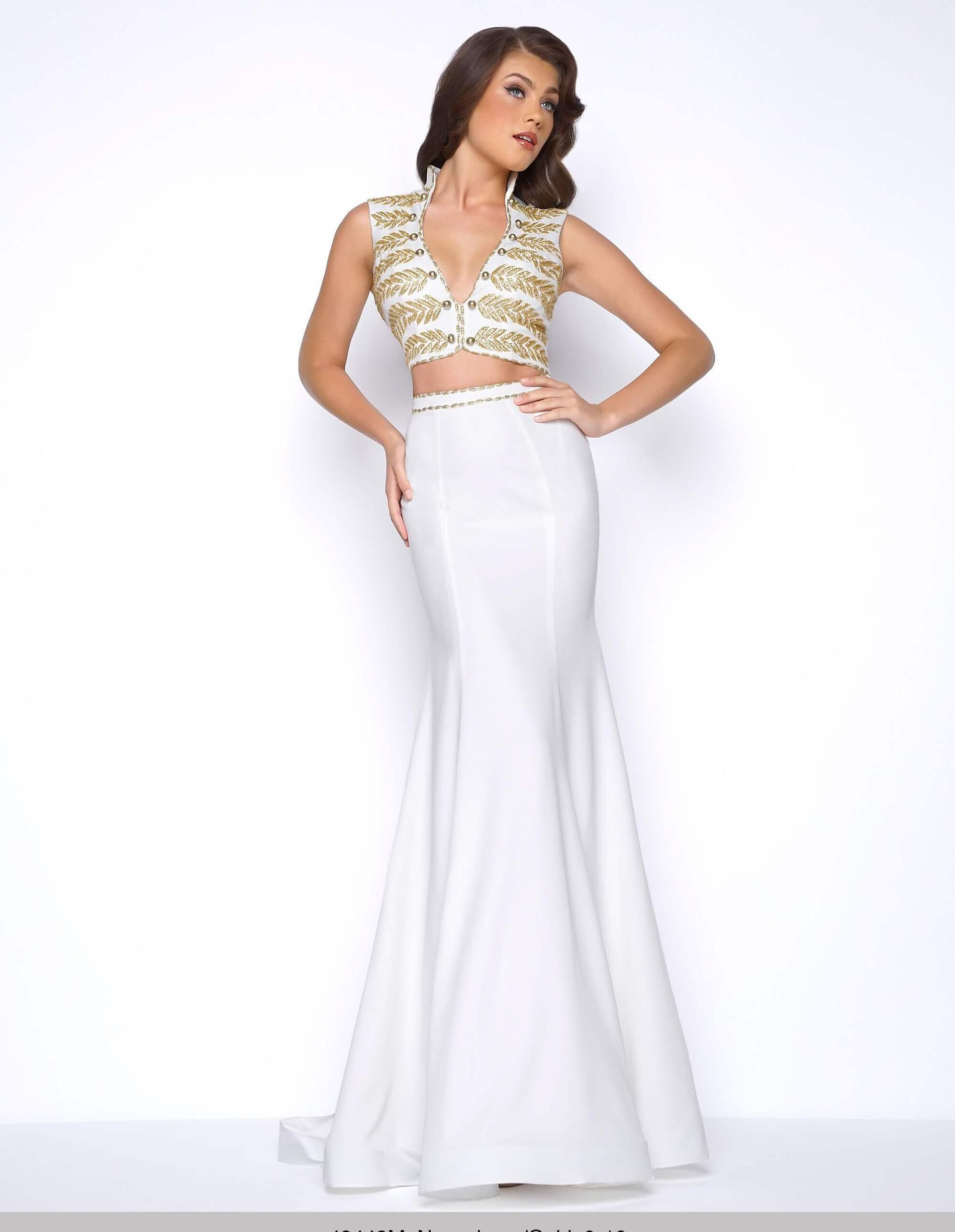 Style 48449 Mac Duggal White Size 4 Gold Ivory Prom Mermaid Dress on Queenly