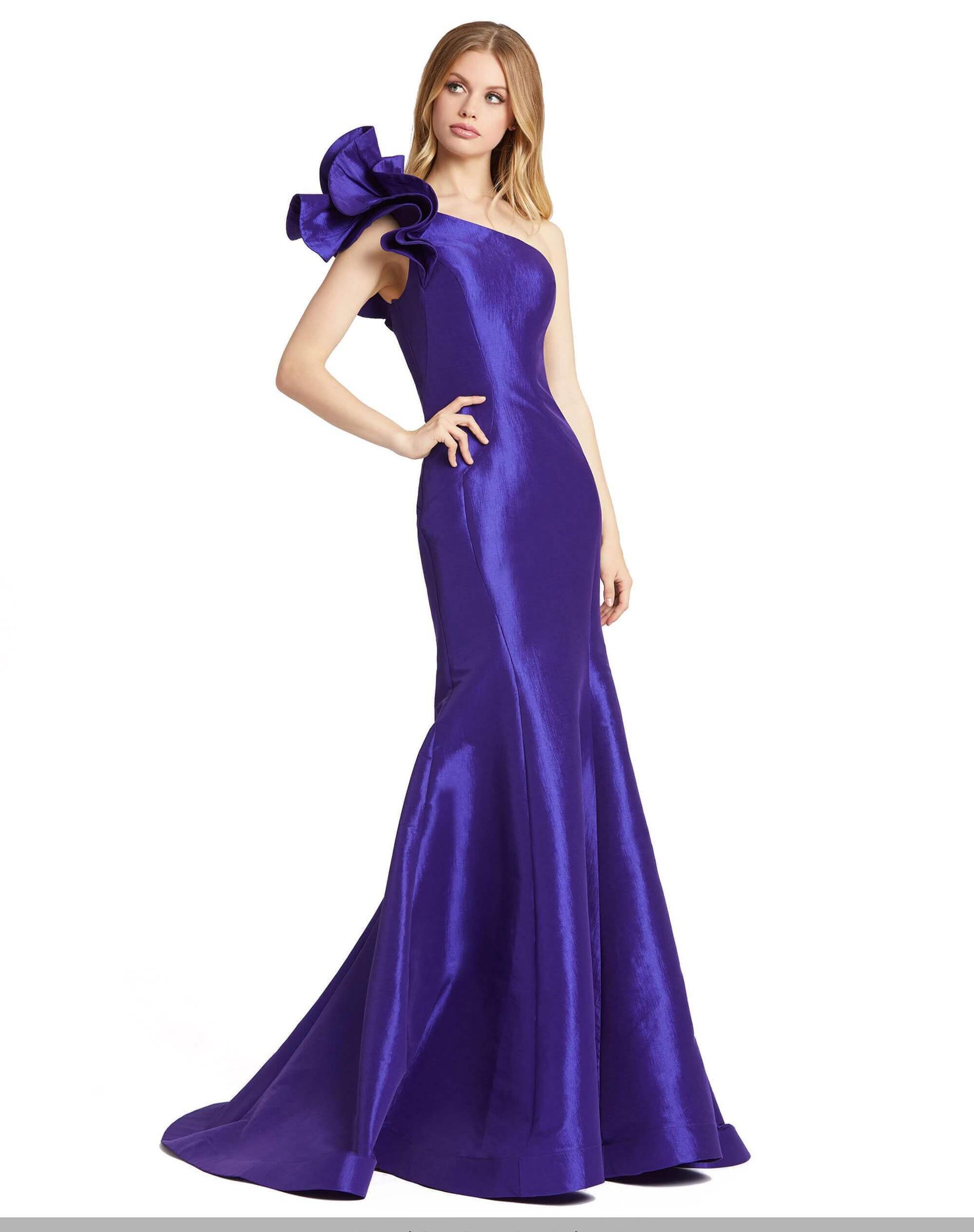 Style 67379 Mac Duggal Purple Size 2 Ruffles One Shoulder Prom Silk Mermaid Dress on Queenly