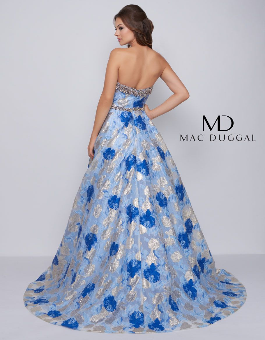 Style 67602 Mac Duggal Blue Size 14 Plus Size Prom Multicolor Ball gown on Queenly