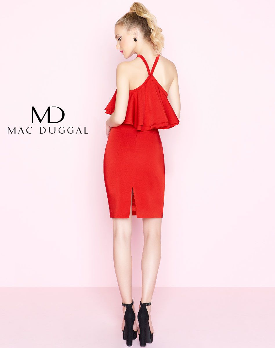 Style 67646 Mac Duggal Red Size 10 Interview Halter Side Slit Cocktail Dress on Queenly