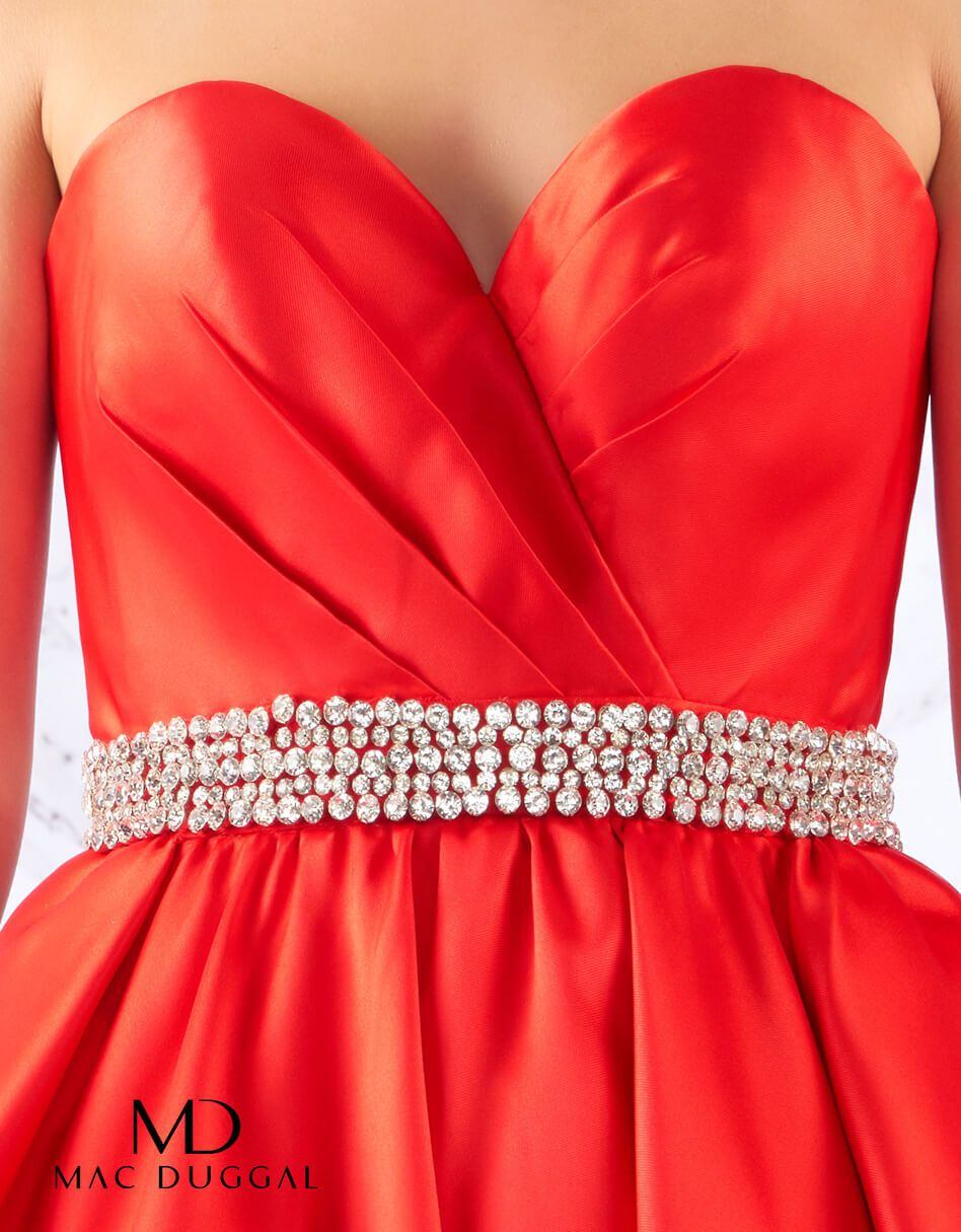 Style 67685 Mac Duggal Red Size 14 Prom Sweetheart Pockets Ball gown on Queenly