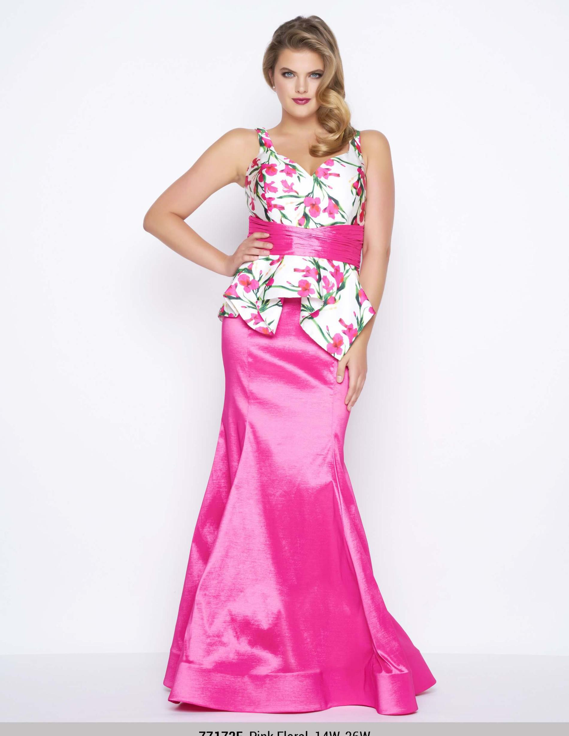 Style 77172 Mac Duggal Pink Size 14 V Neck Floral Mermaid Dress on Queenly