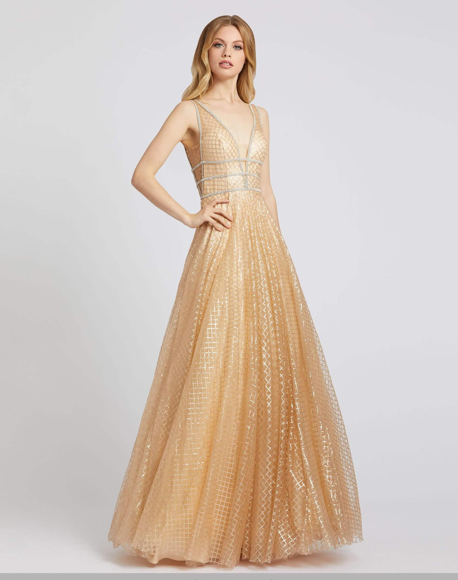 Style 77402 Mac Duggal Gold Size 12 Sheer Tall Height V Neck A-line Dress on Queenly
