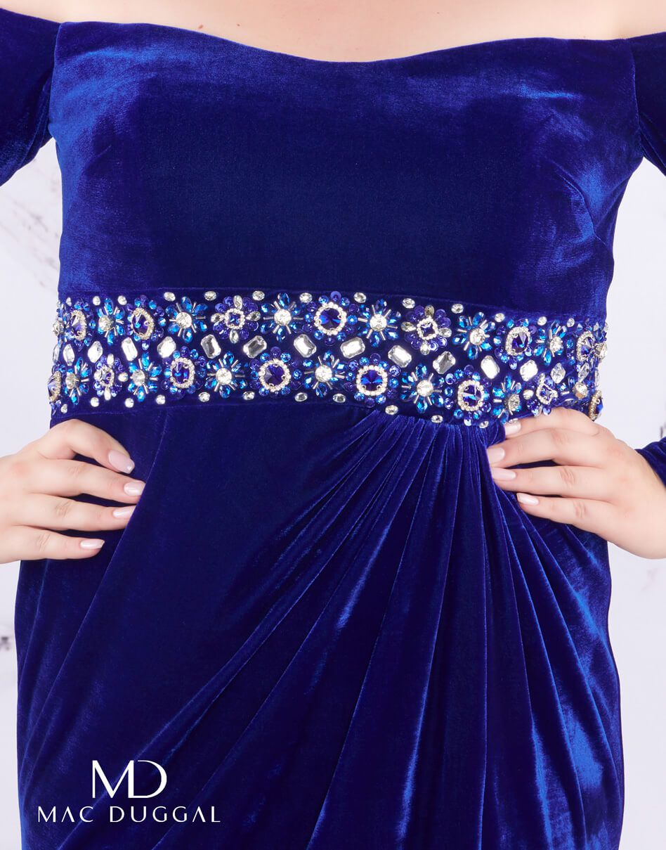 Style 77533 Mac Duggal Blue Size 16 Plus Size Jewelled Prom Side slit Dress on Queenly