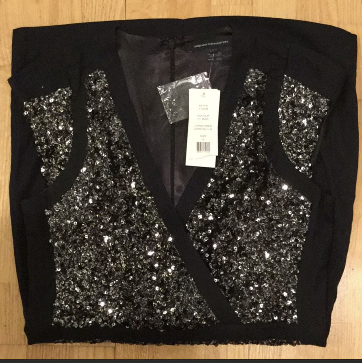 French Connection Black Size 8 Jewelled Party Cocktail Dress on Queenly