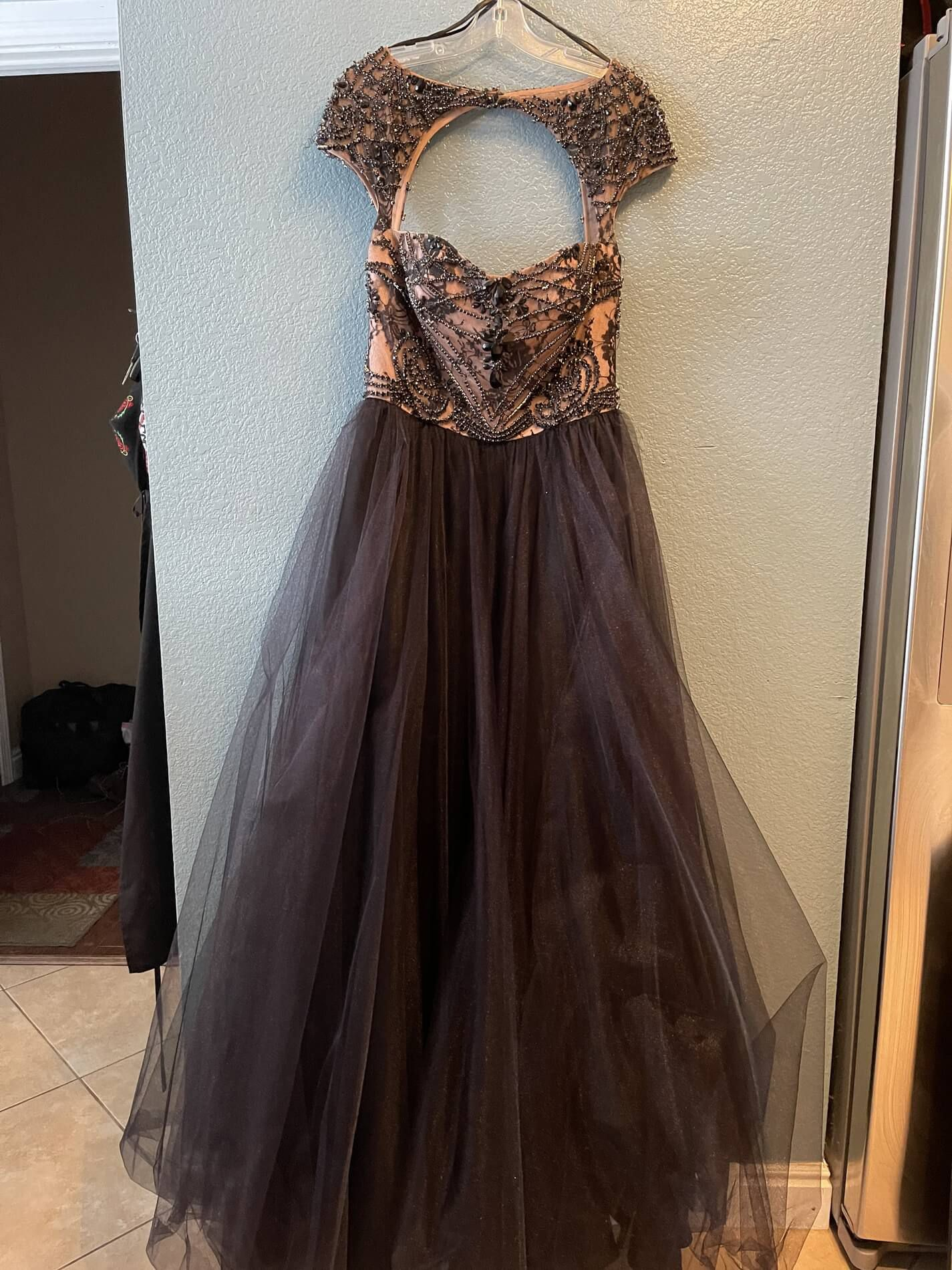 Sherri Hill Black Size 12 Prom Tulle Lace Ball gown on Queenly