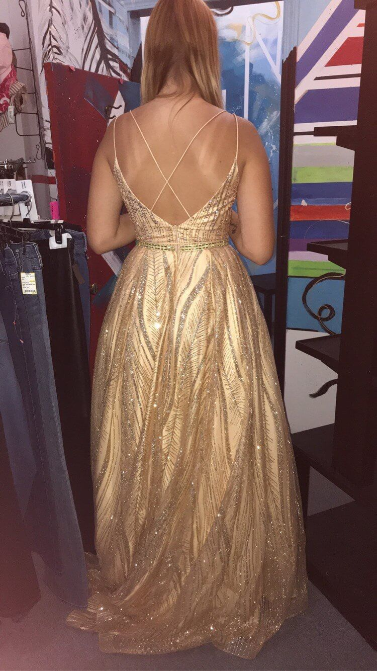 Tiffany Designs Gold Size 8 Prom Backless Tall Height Ball gown on Queenly
