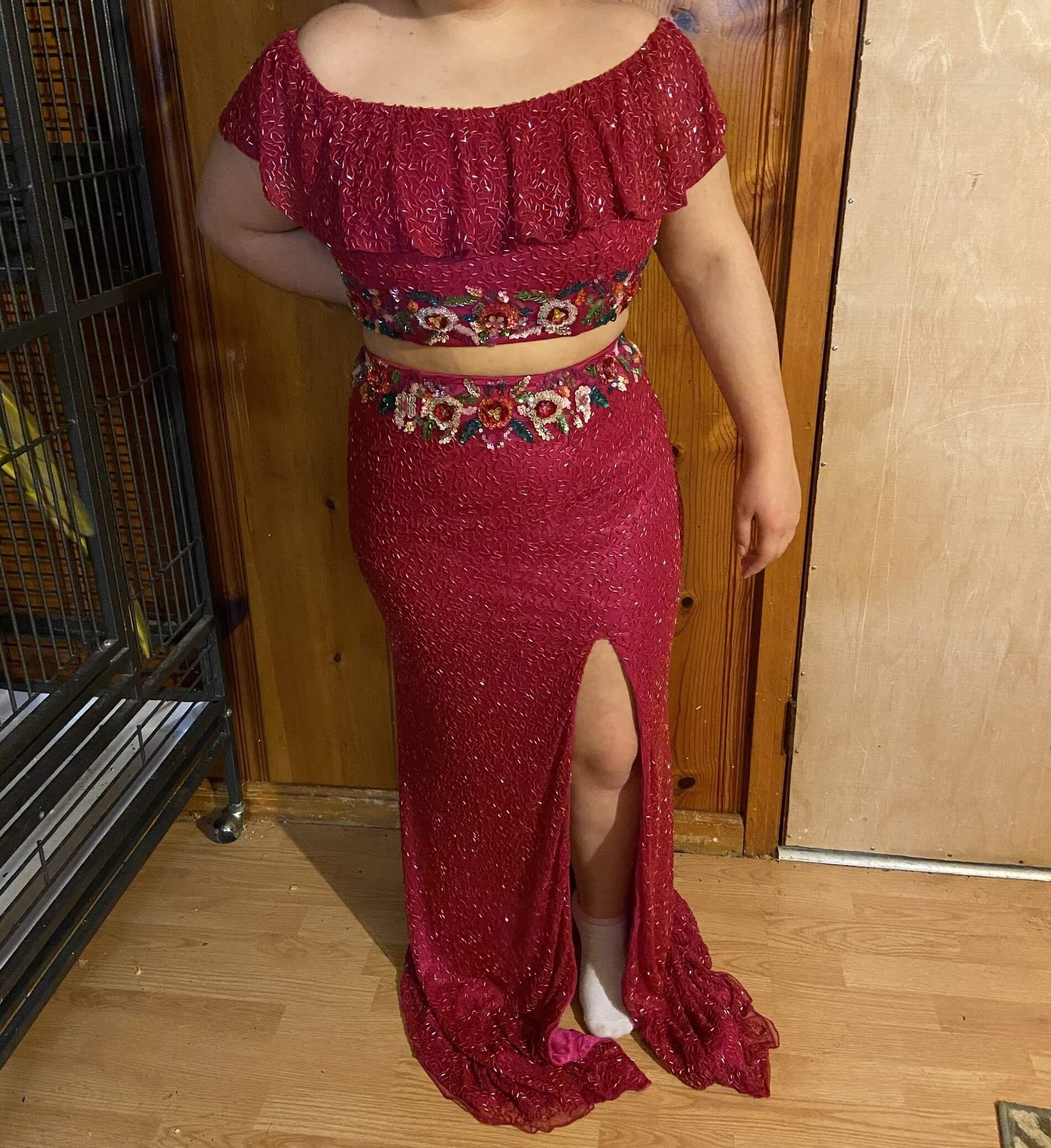 Primavera Pink Size 14 Floral Side slit Dress on Queenly