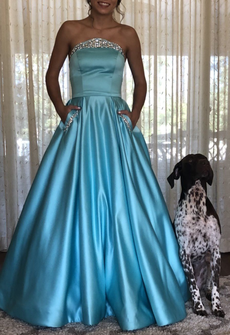 Sherri Hill Light Blue Size 0 Prom Silk Ball gown on Queenly