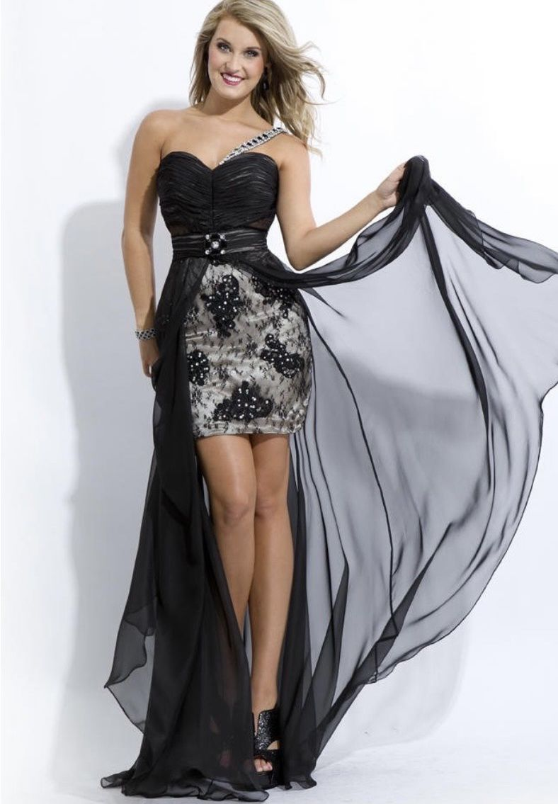 Party Time Princess Collection Black Size 6 One Shoulder Tulle Mini Lace Straight Dress on Queenly