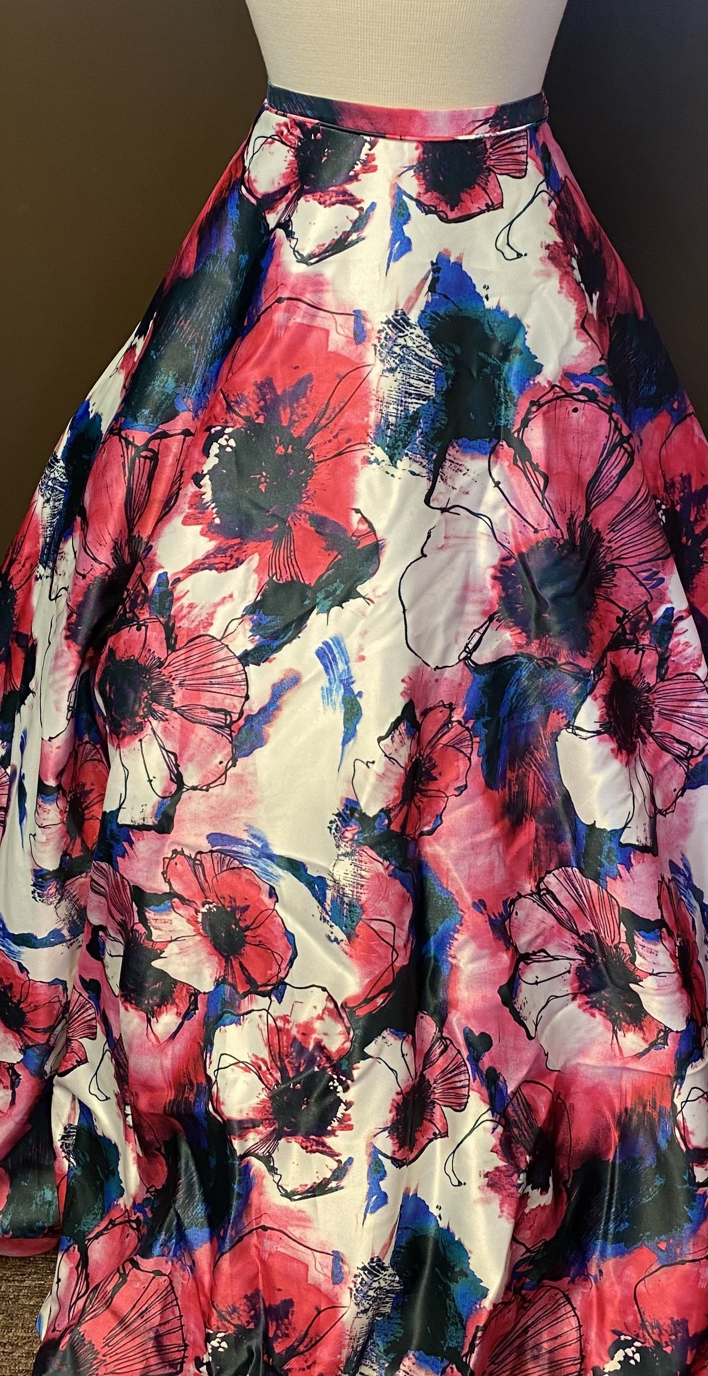Rachel Allan Blue Size 0 Floral Ball gown on Queenly
