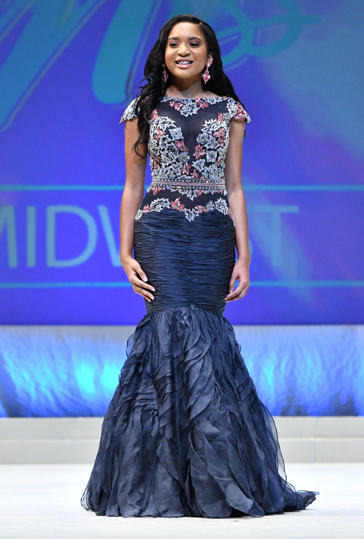Sherri Hill Blue Size 6 Pageant Cap Sleeve Mermaid Dress on Queenly