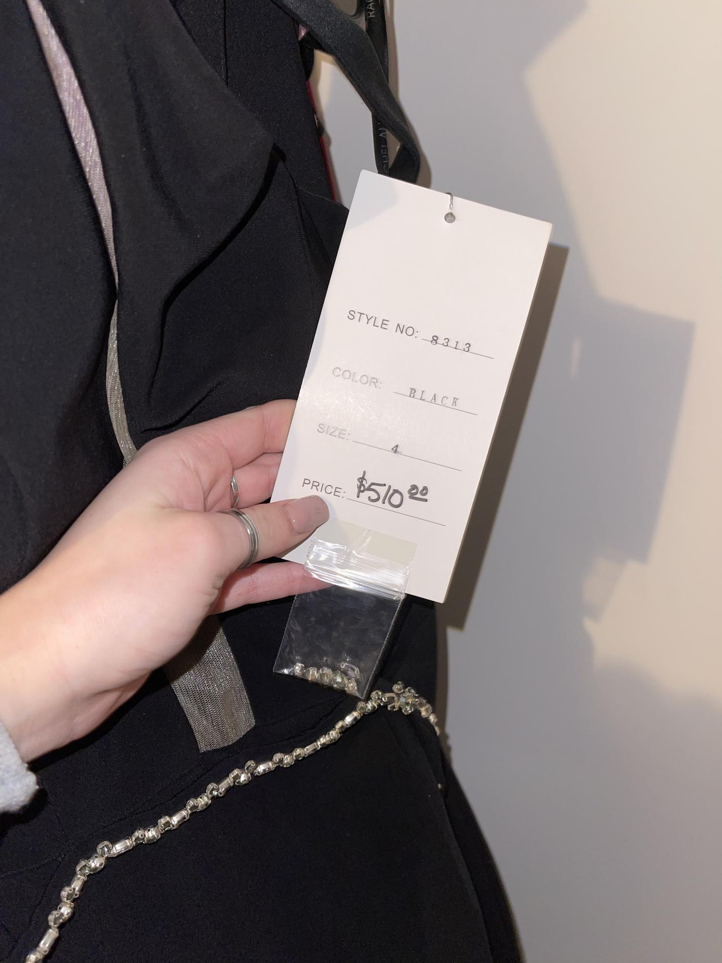 Rachel Allan Black Size 4 One Shoulder Belt Side slit Dress on Queenly