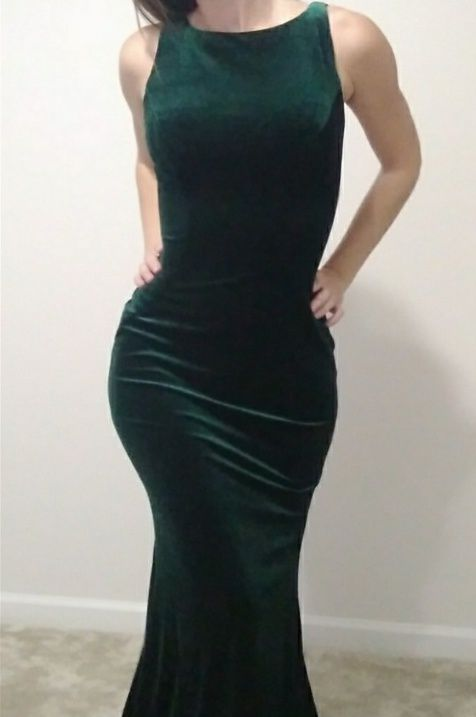 Jovani Green Size 00 Bridesmaid High Neck Nude Straight Dress on Queenly