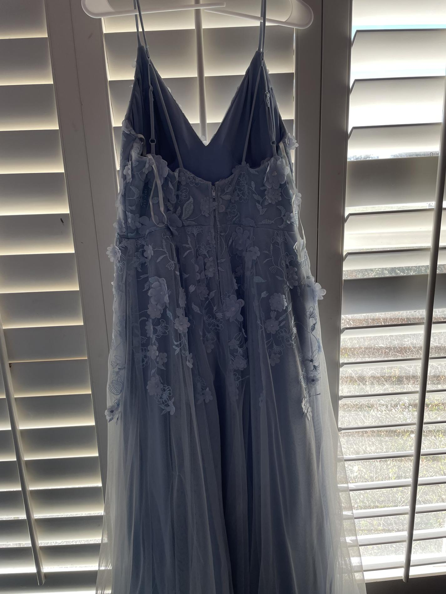 Night Moves Light Blue Size 16 Straight Dress on Queenly