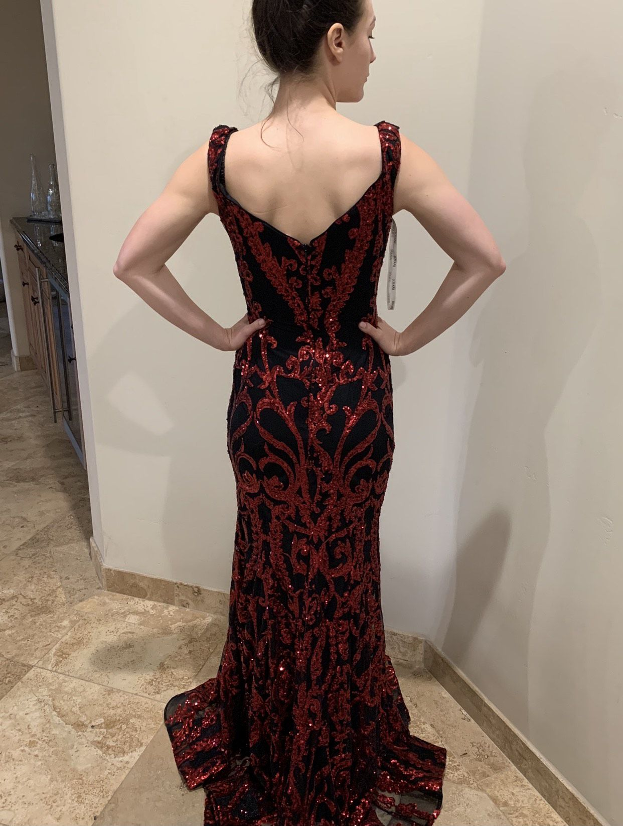Jovani Red Size 4 Sequin Jewelled Mermaid Dress on Queenly