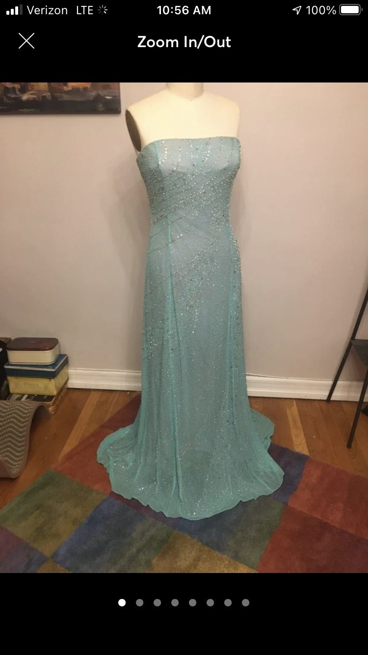 Tiffany Designs Blue Size 14 Mini Tall Height Train Dress on Queenly