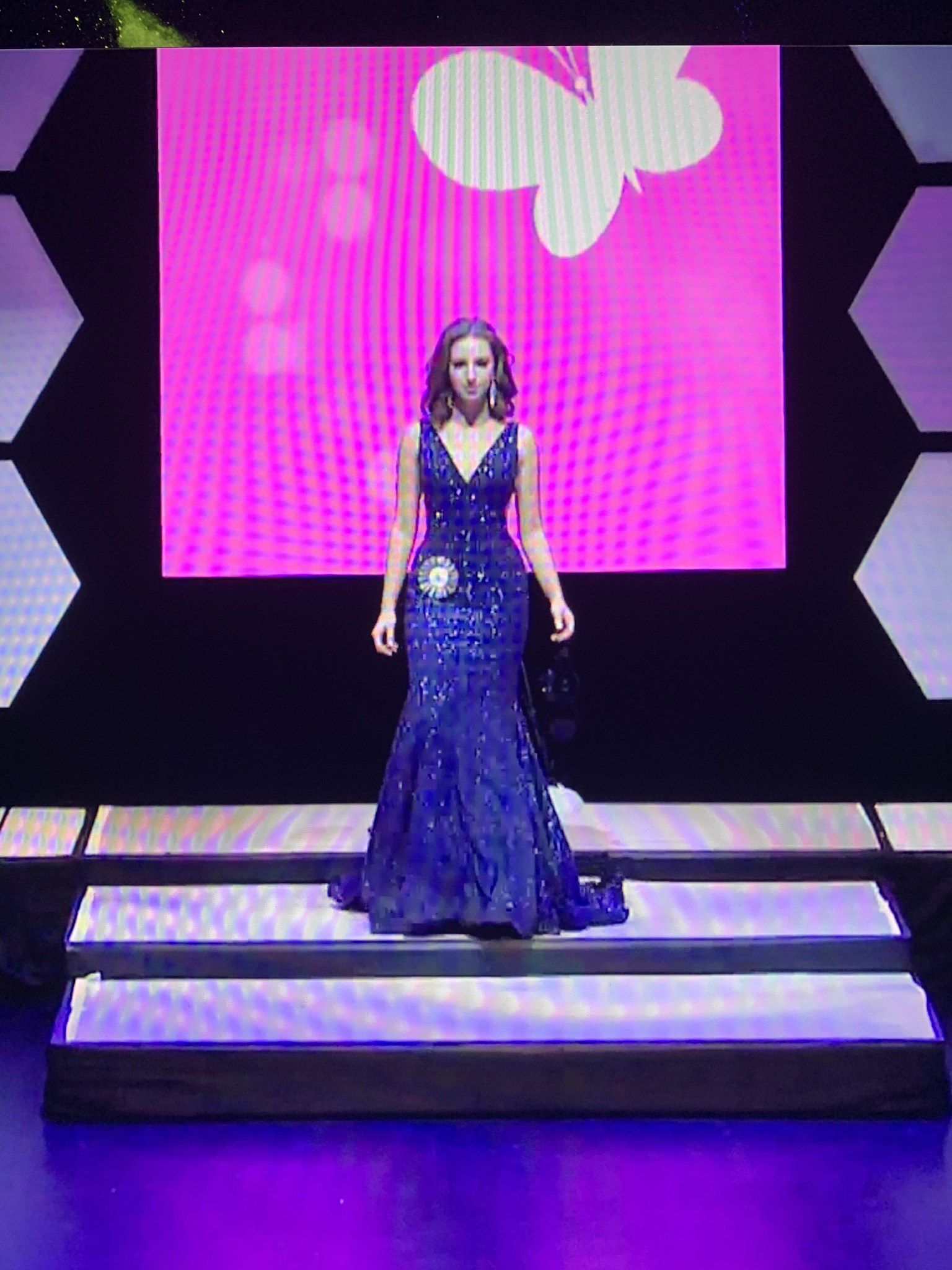 Jovani Blue Size 4 Pageant Train Mermaid Dress on Queenly