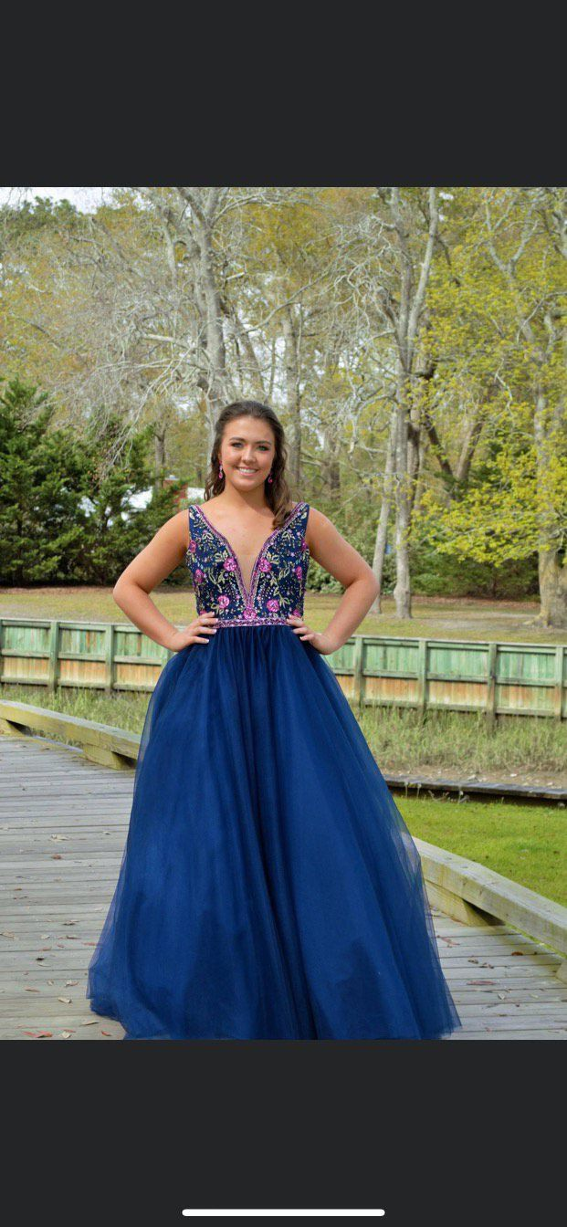 Mori Lee Blue Size 12 Prom Floral Tall Height Ball gown on Queenly