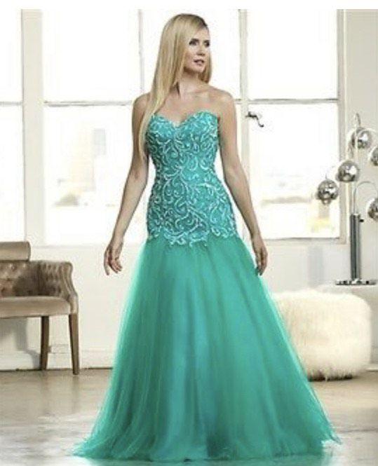 Mac Duggal Green Size 0 Jewelled Sweetheart Mermaid Dress on Queenly