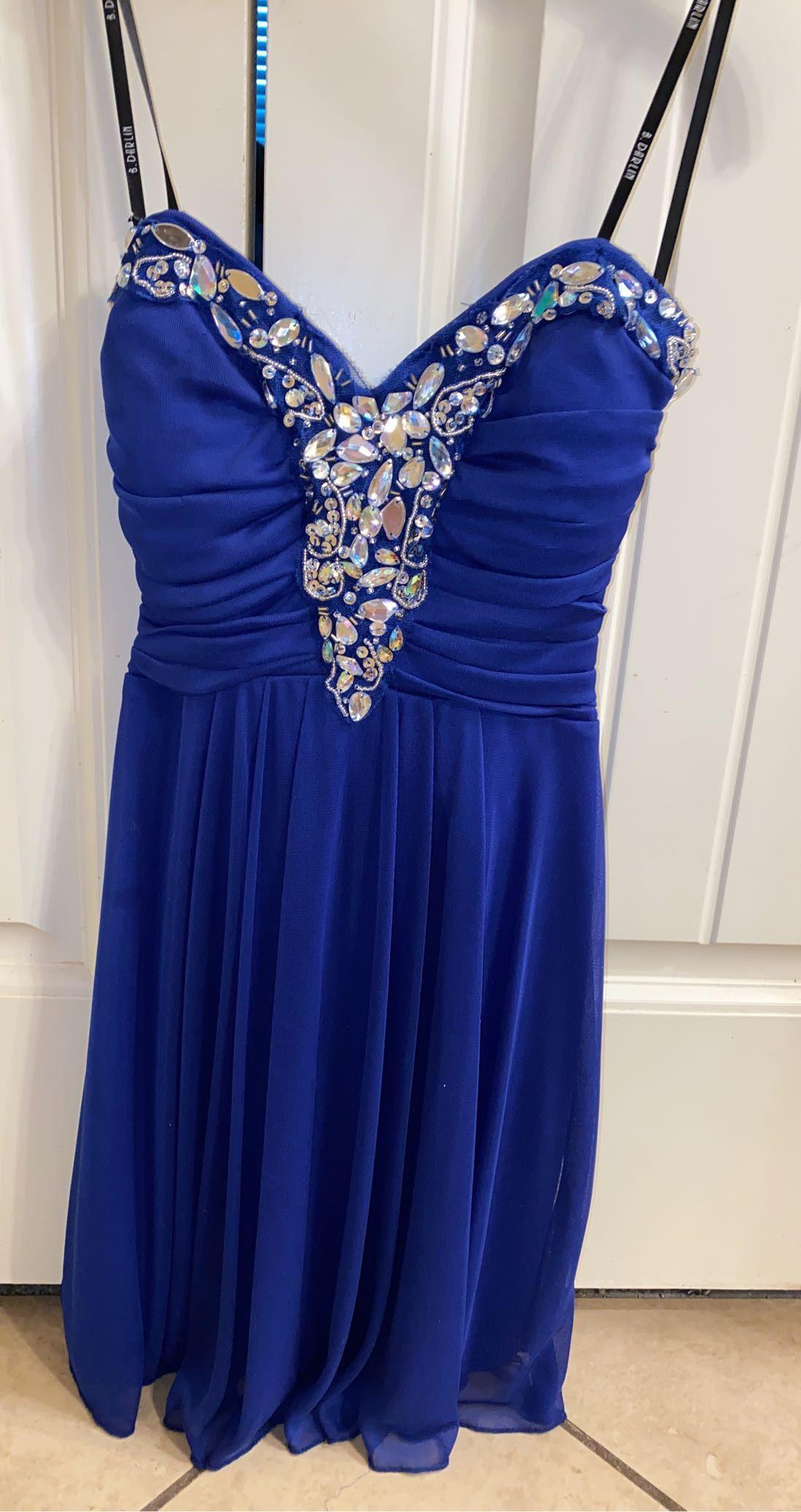 B. Darlin Blue Size 0 Mini A-line Dress on Queenly