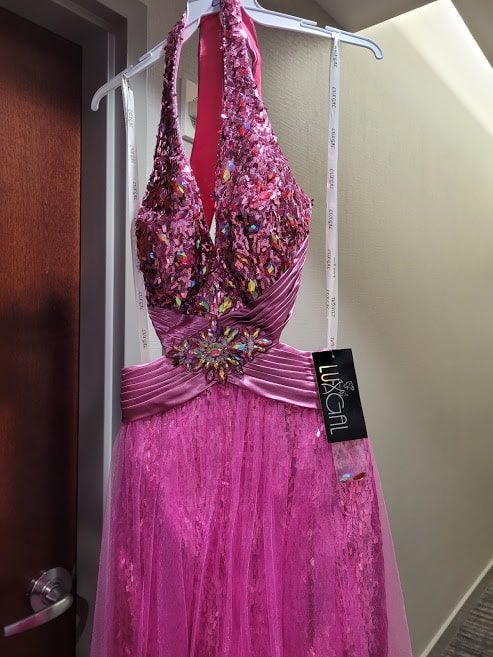 Style L55184 Precious Formals Pink Size 4 Sheer Tall Height Cocktail Dress on Queenly