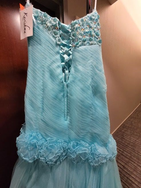 Style 3166 Karishma Creation Light Blue Size 4 Tall Height Mermaid Dress on Queenly