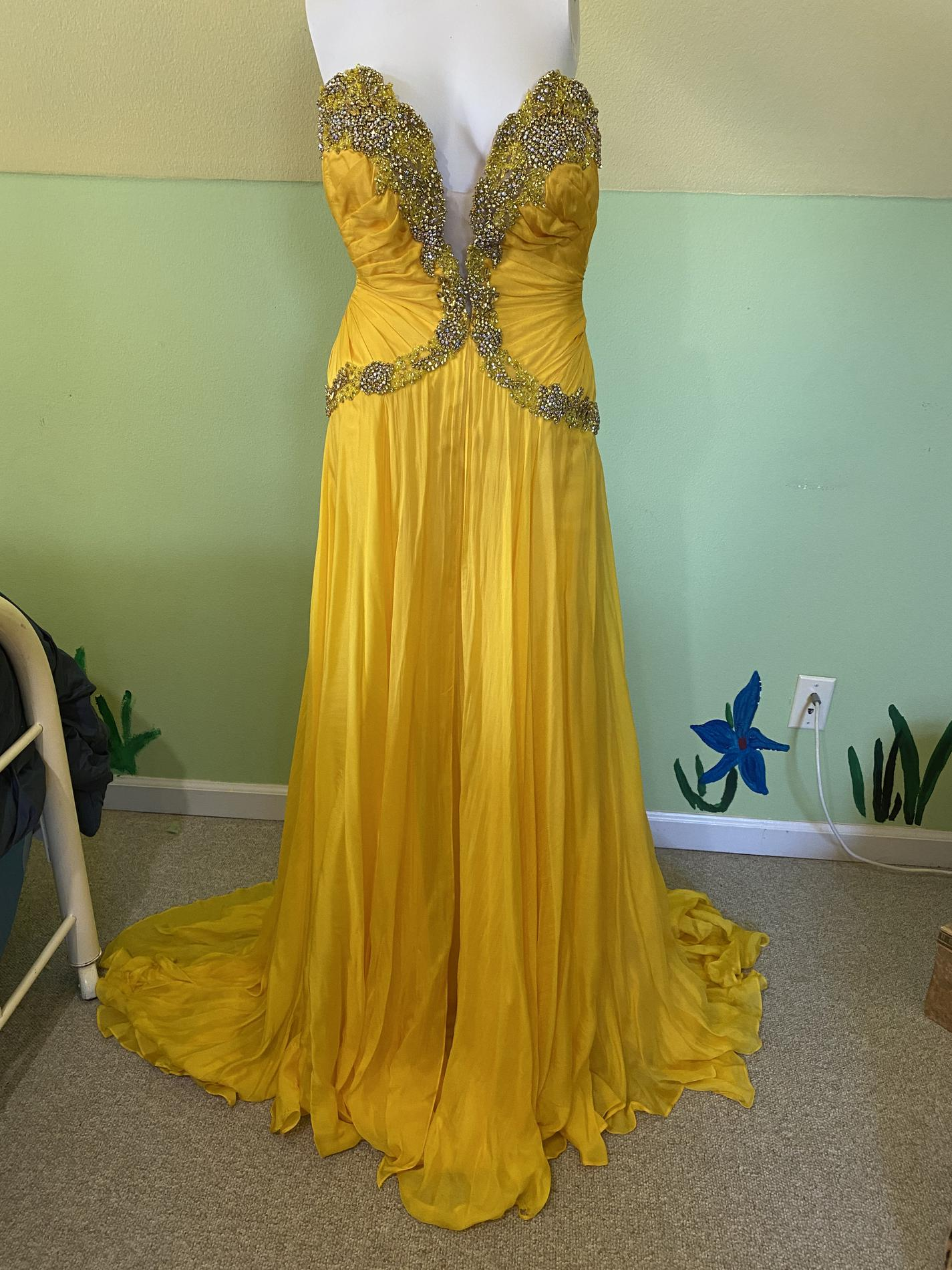 Sherri Hill Yellow Size 4 Pageant Tall Height Custom Straight Dress on Queenly