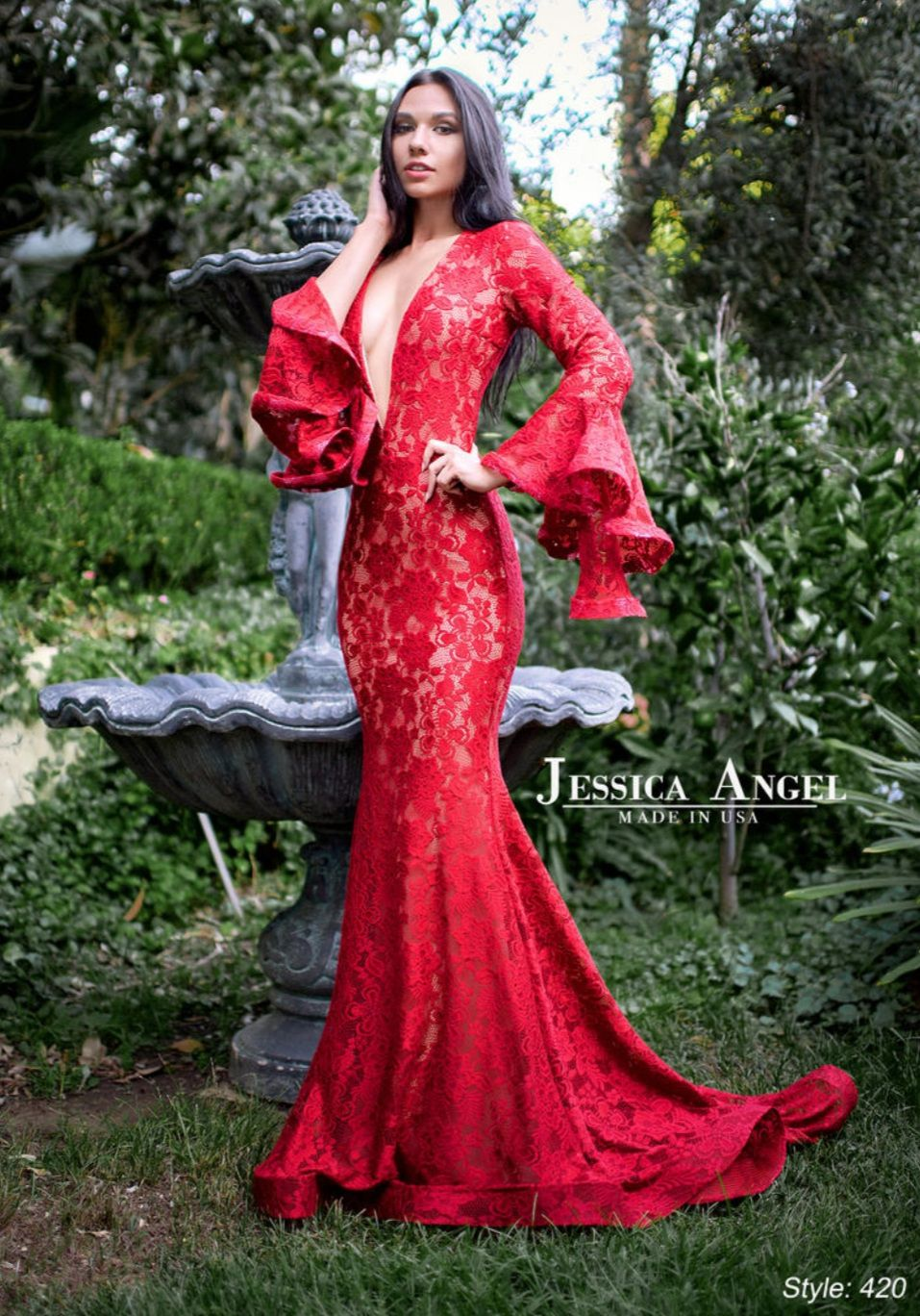 Style 420 Jessica Angel Red Size 4 Sleeves Bell Sleeves Train Lace Mermaid Dress on Queenly