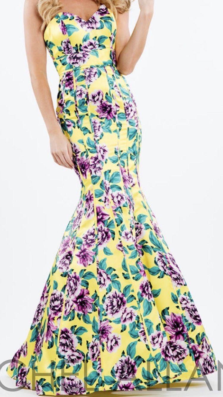 Rachel Allan Yellow Size 14 Print Silk Mermaid Dress on Queenly