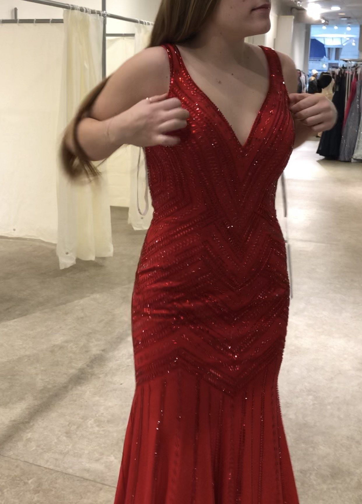 Ellie Wilde Red Size 10 Pageant Backless Tall Height Straight Dress on Queenly