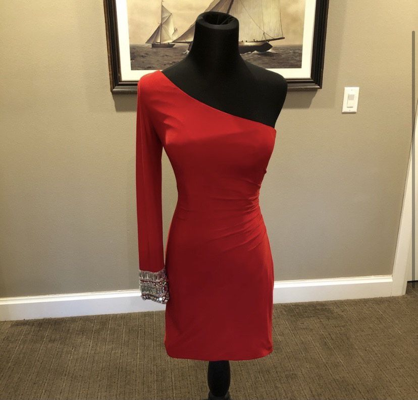 Sherri Hill Red Size 4 One Shoulder Mini Cocktail Dress on Queenly