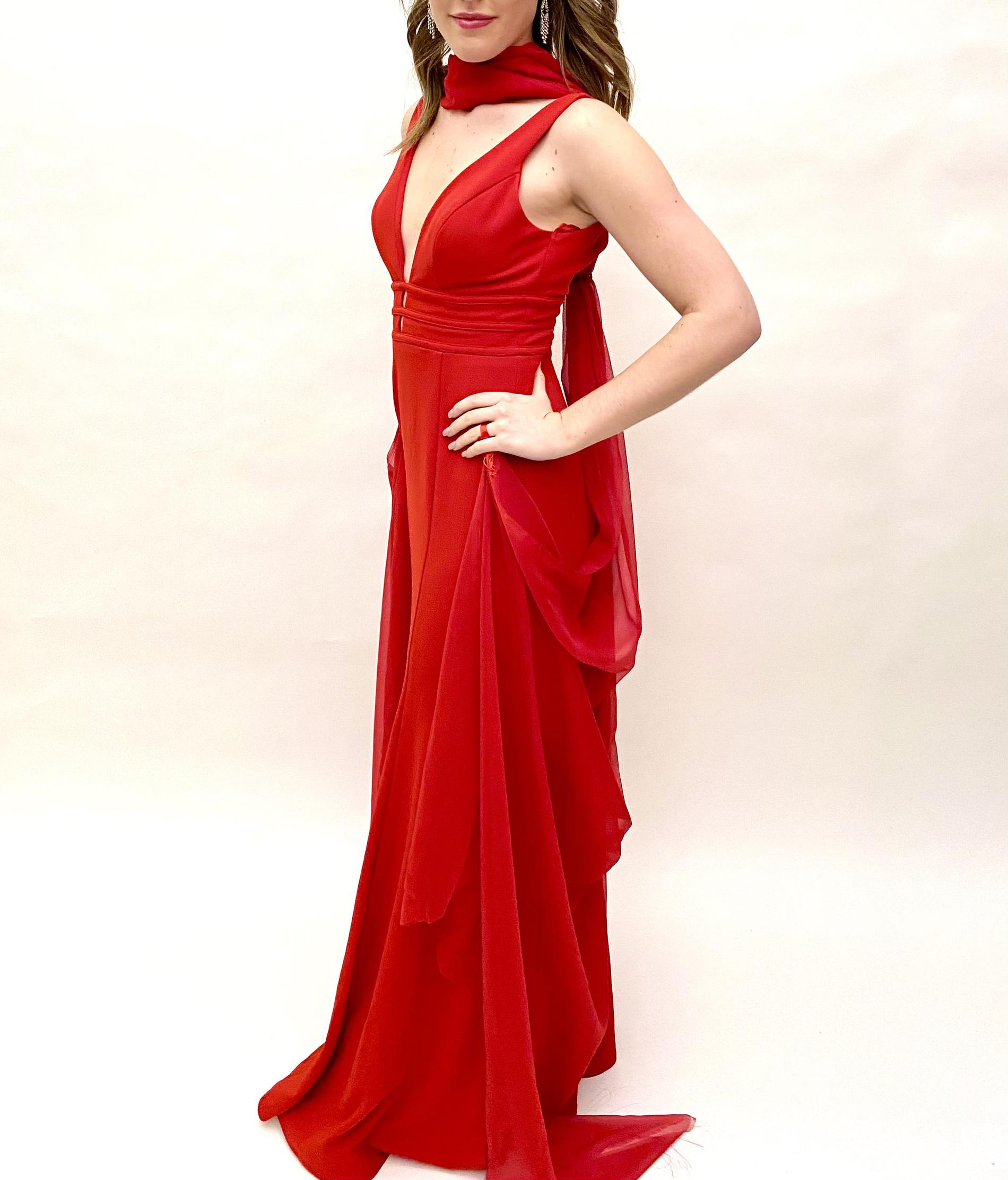 David's Bridal Red Size 2 Pageant Tulle Straight Dress on Queenly