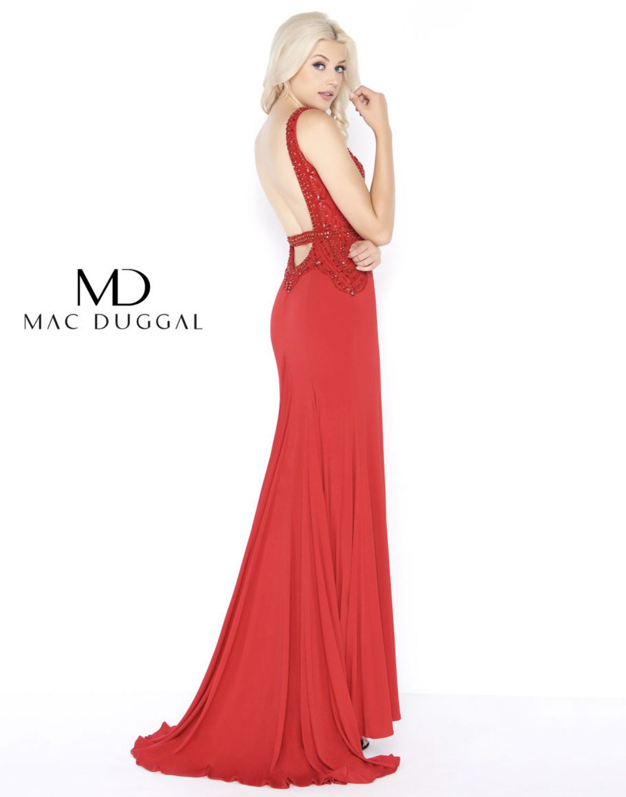 Mac Duggal Red Size 2 Jewelled Beaded Top Side slit Dress on Queenly