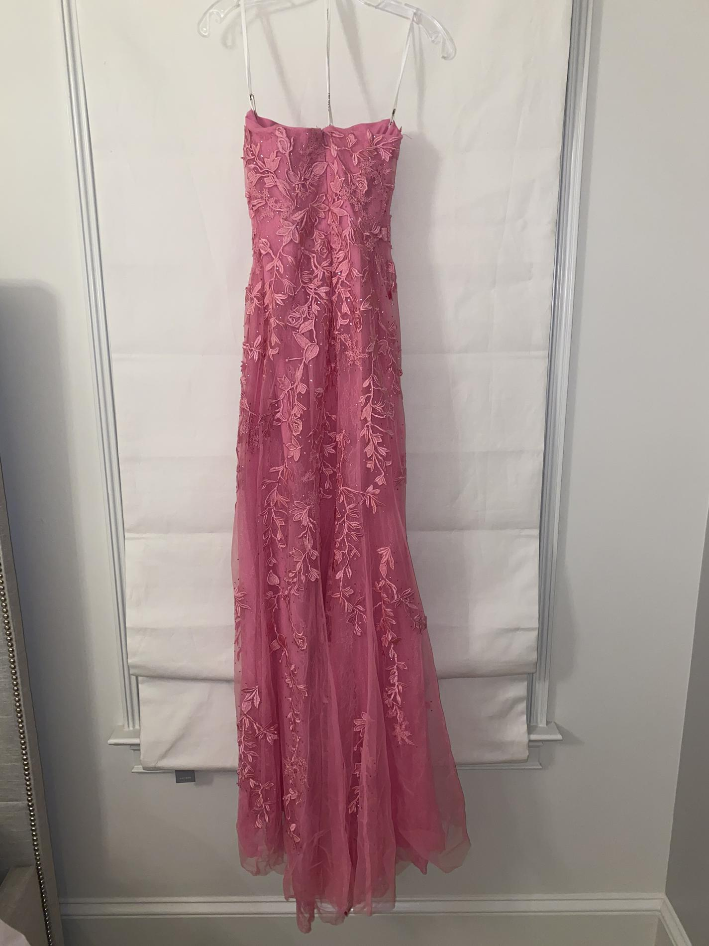 Sherri Hill Pink Size 2 Floral Padded Side slit Dress on Queenly