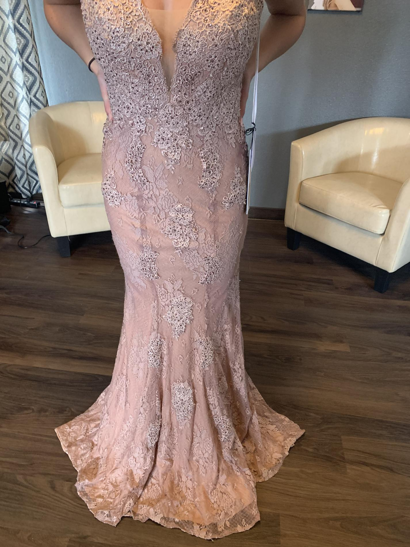Jovani Pink Size 4 Backless Lace Ball gown on Queenly